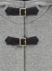 Women's Winter Wool Blend Hooded Pockets Cape Cloak Coat