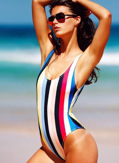 Sexy Stylish Brief Color Block Striped Scoop Neck One Piece Swimsuit