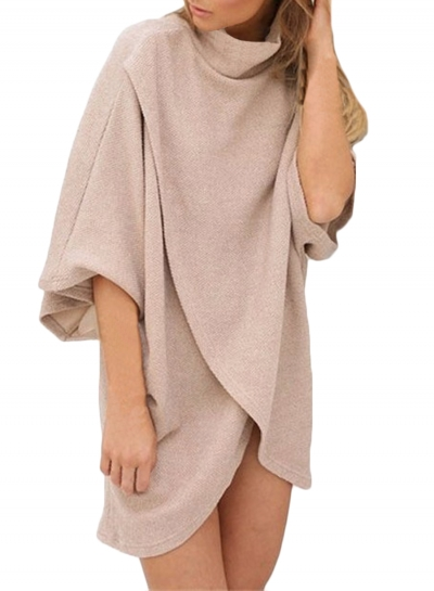 Fashion High Neck 3/4 Batwing Sleeve Loose Fit Asymmetrical Top