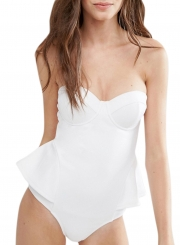 837cc050b9ca0 ... Brief Skinny Solid Color Ruffled Strappy Halter One Piece Swimsuit ...