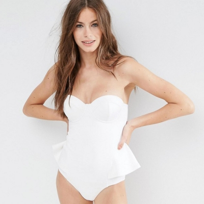 Brief Skinny Solid Color Ruffled Strappy Halter One Piece Swimsuit stylesimo.com