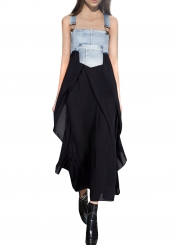 Women's Square Neck Summer Denim Chiffon Midi Overalls Dress