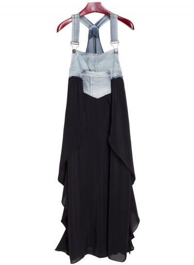 Women's Square Neck Summer Denim Chiffon Midi Overalls Dress STYLESIMO.com