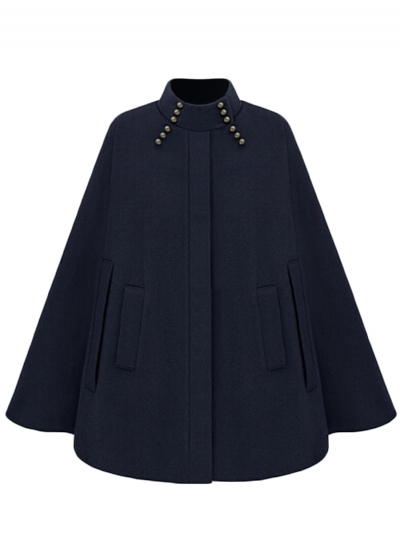 Long Sleeve Stand Collar Winter Warm Woolen Cape Cloak Coat