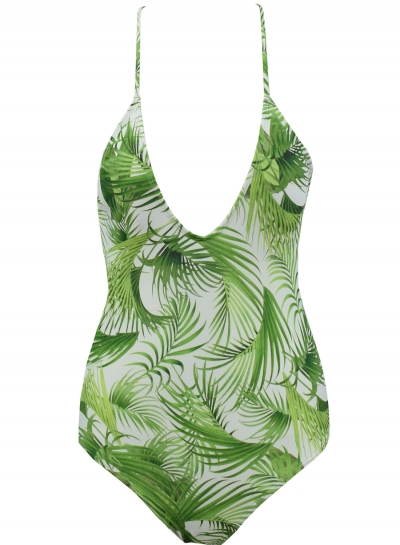 Slim One Piece Deep V Neck Tropical Palm Leaves Pattern Print Swimwear