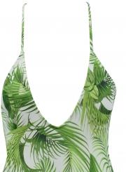 0b40bd7a3d ... Slim One Piece Deep V Neck Tropical Palm Leaves Pattern Print Swimwear  ...