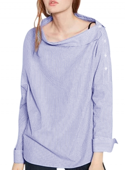 Off Shoulder Long Sleeve Slash Neck Side Buttons Striped Blouse Pullover