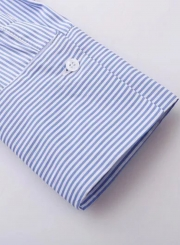 Off Shoulder Long Sleeve Slash Neck Side Buttons Striped Blouse Pullover