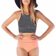 Color Block Buttom Brief Striped Graphic Hollow Out Two Piece Swimsuit