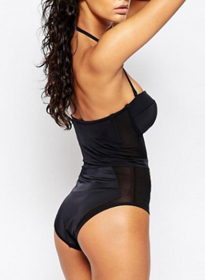 Vacation Hot Mesh Splicing One Piece Halter Polyester Spandex Swimsuit stylesimo.com