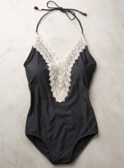 6a56f1c65 Fashion Floral Lace Paneled Halter One Piece Swimsuit - STYLESIMO.com