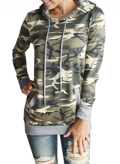 Women's Camo Graphic Hooded Pullover Sweatshirt STYLESIMO.com