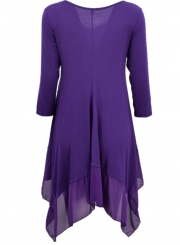 Asymmetric Splicing Hem Stretched Knit Going Out Dress