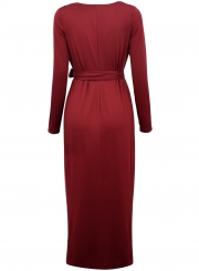 V Neck Long Sleeve Tie Waist Bodycon Maxi Dress