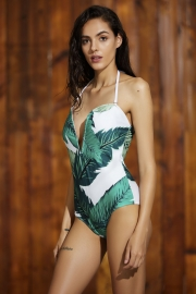 Leaves Print V Neck Strapless One Piece Swimsuit