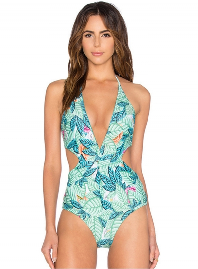 Fashion Halter Neck Cut out Waist One Piece Swimsuit