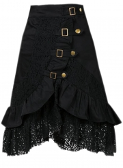 Mid Waist Hollow Out Steampunk Gothic Vintage Lace Gypsy Hippie Skirt