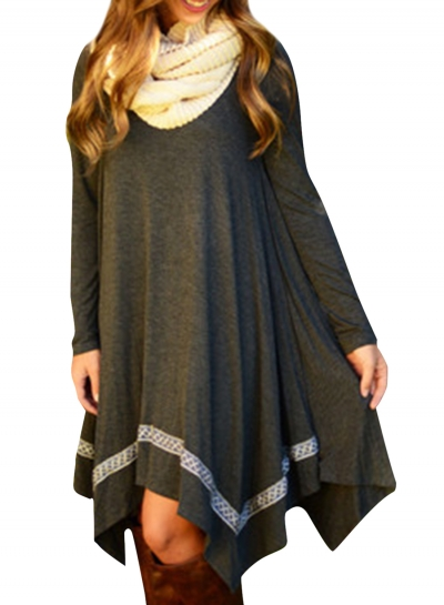 Casual Long Sleeve Asymmetric Hem Stretched Knee Length Knit Dress