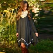 Casual Long Sleeve Asymmetric Hem Stretched Knee Length Knit Dress