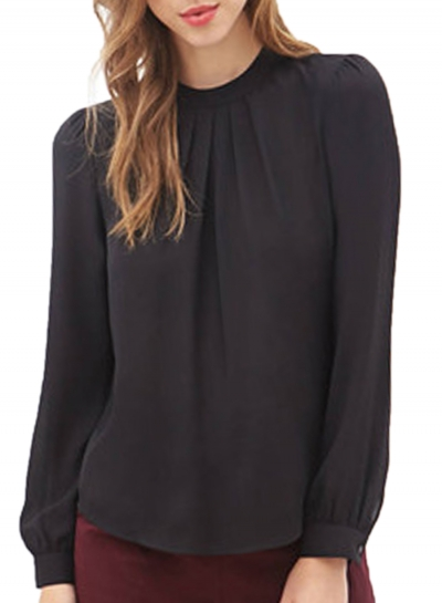 Loose Round Neck Ruffled Front Lantern Long Sleeve Chiffon Blouse