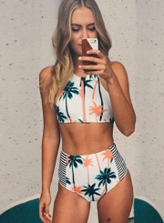 High Elasticity Palm Tree Printed Stripe High Waist Two Piece Swimwear