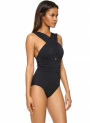 Casual One Piece Cross front Backless Chinlon Spandex Swimsuit with Pad