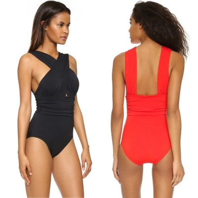 Casual One Piece Cross front Backless Chinlon Spandex Swimsuit with Pad stylesimo.com