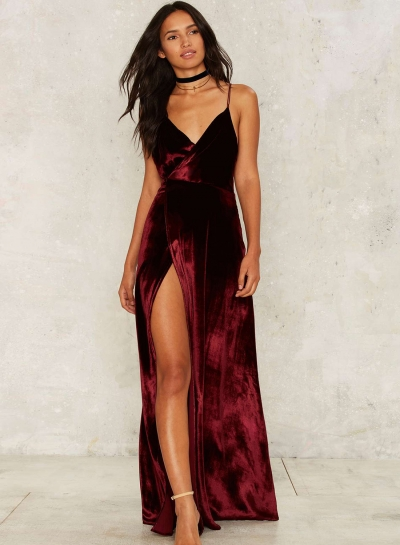 Women's Loose Sleeveless V Neck Backless Velvet Prom Evening Dress