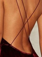 73179334c9c41 ... Women's Loose Sleeveless V Neck Backless Velvet Prom Evening Dress ...