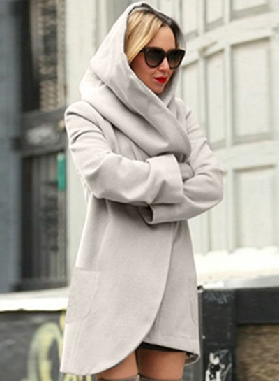 Women's Hooded Long Sleeve Loose Fit Design Woolen Fashion Hooded Coat STYLESIMO.com