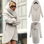 Women's Hooded Long Sleeve Loose Fit Design Woolen Fashion Hooded Coat