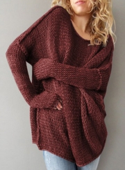 Women's Long Sleeve Solid Dropped Shoulder Loose Fit Pullover Sweater