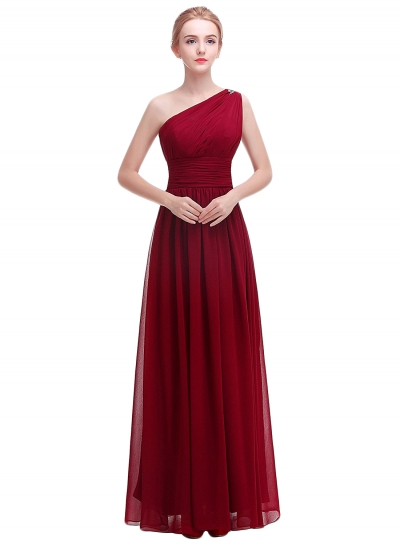Modest Polyester Slim One Shoulder Chiffon Prom Dress with Beading
