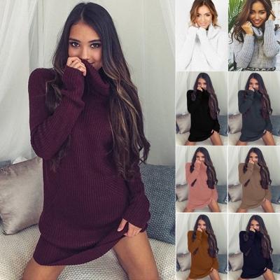 6853aee8d3c Fashion Long Sleeve Casual High Neck Striped Knit Sweater Dress  stylesimo.com