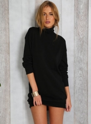 Amazing Long Sleeve Fashion Solid High Neck Sweater Day Dress