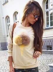 Women's Cute Long Sleeve Ice Cream Graphic Pompon Round Neck Sweatshirt
