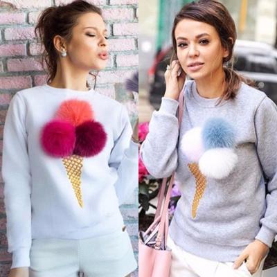 Women's Cute Long Sleeve Ice Cream Graphic Pompon Round Neck Sweatshirt stylesimo.com