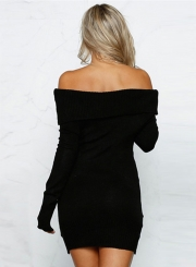 Casual Slash Neck Long Sleeve Mini Bodycon Sweater Day Dress