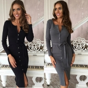 Round Neck Long Sleeve Button Bodycon Going Out Party Dress with Belt