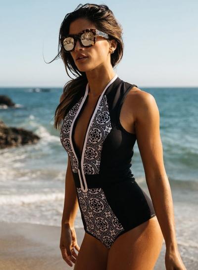 One Piece Zipper Retro Print Bikini Push Up Bathing Suit
