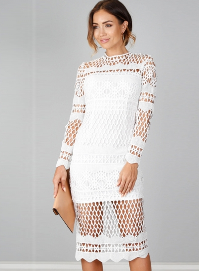 Amazing Crew Neck Long Sleeve Hollow Out Lace Bodycon Night Club Dress STYLESIMO.com