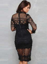 Amazing Crew Neck Long Sleeve Hollow Out Lace Bodycon Night Club Dress
