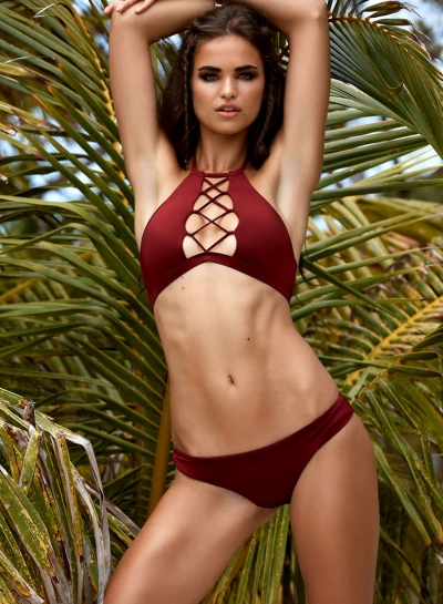 Sexy Polyester Halter Neck Cut Out Front Bikni Set Swimwear