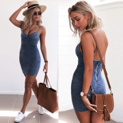 Skinny Sleeveless Denim Bodycon Short Going Out Party Dress
