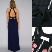 Sleeveless Halter Neck Floral Embroidery Maxi Prom Evening Dress