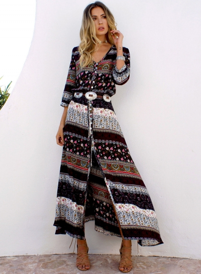 Women's Polyester Regular Bohemian 3/4 Sleeve Button Split Day Dress
