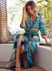 Women's Polyester Regular Bohemian 3/4 Sleeve Button Split Day Dress