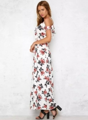 Short Sleeve V Neck Floral Print Maxi Prom Evening Dress