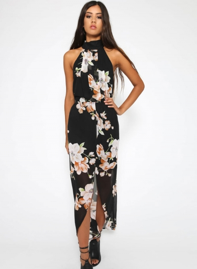 Fashion Polyester Halter Neck Sleeveless Floral Printed Slit Maxi Day Dress