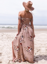 Floral Strapless Short Sleeve High Slit Maxi Party Dress
